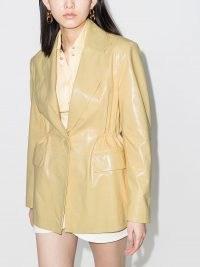 REMAIN high-shine leather blazer in soft yellow ~ shiny gathered-waist blazers
