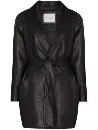 Envelope1976 Kelly belted jacket ~ black vegan leather tie waist jackets
