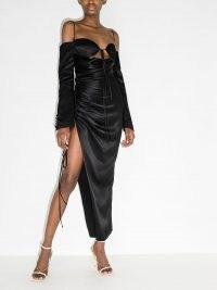 Aleksandre Akhalkatsishvili tie-front cutout dress ~ ruched thigh high split evening dresses