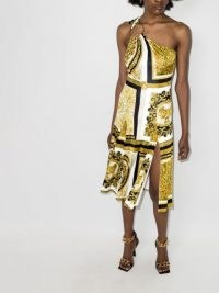 Versace Rodeo Queen print sleeveless dress ~ glamorous vintage style one shoulder evening dresses