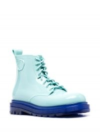 Viktor & Rolf Coturno Couture boots ~ two tone blue PVC combat boot