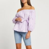 RIVER ISLAND Purple broderie belted bardot top ~ off the shoulder summer tops with tie waist