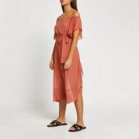 RIVER ISLAND Rust tie waist bardot maxi dress ~ off the shoulder summer dresses ~ beachwear fashion