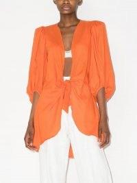 Adriana Degreas tie-front three-quarter sleeve jacket / bright orange lightweight summer jackets