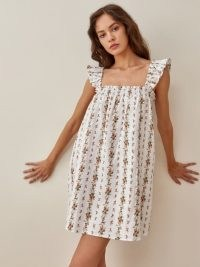 REFORMATION Albany Linen Dress ~ floral smocked summer dresses
