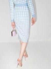 Alessandra Rich gingham knitted midi skirt / fresh blue and white checks