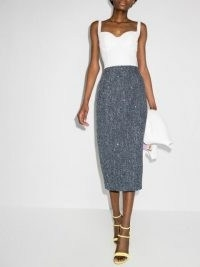 Alessandra Rich sequin-embellished pencil midi skirt / blue sequinned skirts