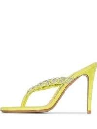 Alexandre Vauthier Jojo 100mm crystal-embellished sandals / lime-green suede heels