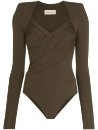 Alexandre Vauthier Brown ruched bodysuit
