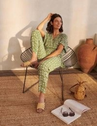 BODEN Alice Wrap Jumpsuit Pea Pineapple Geo / green fruit print jumpsuits for summer 2021