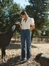 REFORMATION Alyssa Patch Pocket High Rise Wide Leg Jeans
