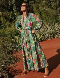 BODEN Amelia Cotton Maxi Dress Palm Leaf, Paradise Jungle / printed long sleeve summer dresses