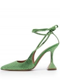 Amina Muaddi Karma crystal-embellished pumps / luxe green flared high heels / pointed toe ankle tie shoes
