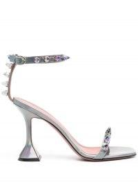 Amina Muaddi metallic-effect studded sandals | silver flared heels
