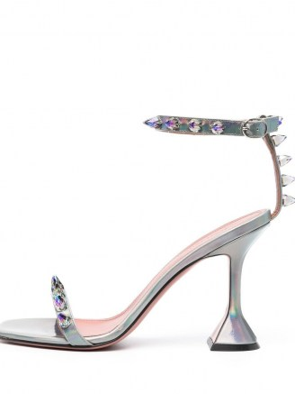 Amina Muaddi metallic-effect studded sandals | silver flared heels - flipped