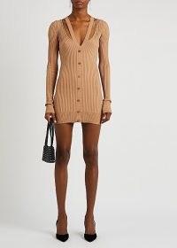 ANDREA ADAMO Camel cut-out ribbed-knit mini dress ~ light brown contemporary dresses