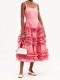 MOLLY GODDARD Angie pink frilled cotton-poplin dress – vintage style frill trim dresses