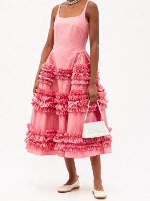 MOLLY GODDARD Angie pink frilled cotton-poplin dress – vintage style frill trim dresses - flipped
