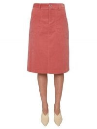 "A.P.C. COTTON VELVET ""JENNIE"" SKIRT in PINK"
