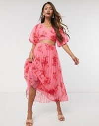 holiday cocktail dresses – ASOS DESIGN wrap around pleated midi dress in floral print