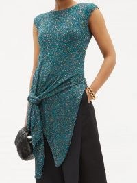 LOEWE Asymmetric knotted sequinned knit top ~ contemporary knitwear