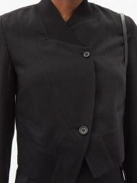 ANN DEMEULEMEESTER Asymmetric single-breasted wool-twill jacket ~ black contemporary jackets
