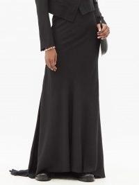 ANN DEMEULEMEESTER Asymmetric wool-blend twill maxi skirt / elegant black dip hem skirts