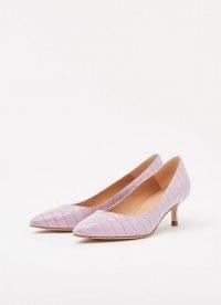 L.K. BENNETT AUDREY HEATHER CROC COURTS ~ light purple kitten heels