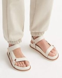JIGSAW AVA LEATHER FOOTBED SANDAL / chunky luxe wide strap summer flats