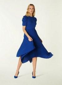 L.K. BENNETT AVELINE BLUE PLEATED ASYMMETRIC DRESS ~ floaty puff sleeve dresses