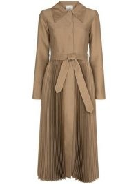 A.W.A.K.E. Mode pleated-skirt trench coat | pleat detail tie waist coats