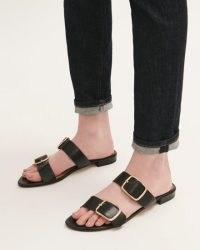 JIGSAW AYTON LEATHER FLAT SANDAL BLACK / buckled double strap flats