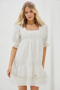Forever That Girl Embroidered Mini Dress   white cotton short puff sleeve dresses   women's summer fashion 2021