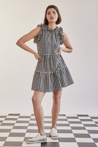 Maeve Lida Gingham Ruffled Mini Dress BLACK and WHITE / monochrome checked ruffle trim dresses