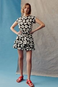 Peter Som for Anthropologie Penelope Mini Dress / monochrome tiered hem floral dresses