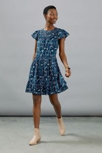 Othilia Dessa Ruffled Mini Dress Blue Motif