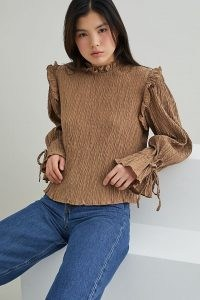 Selected Femme Textured Ruffled Blouse