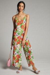 Kachel Pandora Ditsy-Print Jumpsuit | green floral cami strap summer jumpsuits