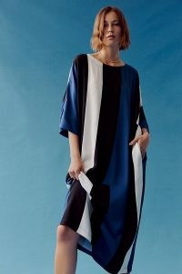 Peter Som for Anthropologie Calanthe Striped Maxi Dress Blue Motif | kaftan style summer dresses