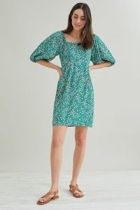Kachel Dolly Print Mini Dress | green floral balloon sleeve summer dresses