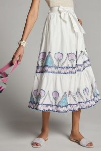 Anthropologie Magda Embroidered Midi Skirt | white cotton summer skirts