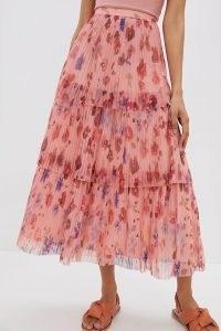 Geisha Tomasa Pleated Tulle Midi Skirt | pink tiered floral skirts