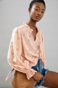Othilia Melody Eyelet Blouse Pink | puff sleeve ruffle trim summer blouses | frill neck
