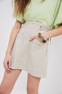 Anthropologie Blake Lace-Up Mini Skirt | beige A-line summer skirts