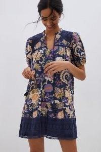 Let Me Be Print A-Line Dress | navy blue puff sleeve dresses