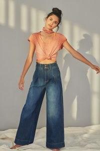 Pilcro Ultra High-Rise Pleated Trouser Jeans Denim Medium Blue   wide leg front pleat jean