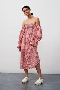 Sleeper Atlanta Checked Midi Dress Red Motif / off the shoulder puff sleeve linen dresses for summer / bardot style