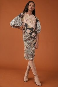 Kachel Evangeline Midi Dress / cotton mixed print midi length frock with balloon sleeves