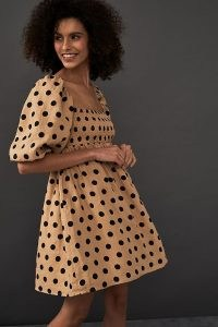 Faithfull Dallia Mini Dress / square neck fit and flare polka dot frock with shirred bust and cropped balloon sleeves