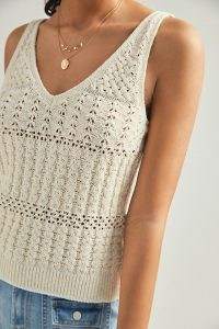 Anthropologie Rae Knitted Tank Ivory | neutral lightweight knit vest top
